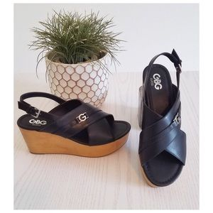 Wedge Platform G by Guess Logo Black Dee Sandals
